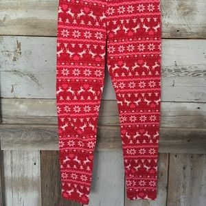 Fleece Lined Deer Heart Pink Red Stretch Leggings